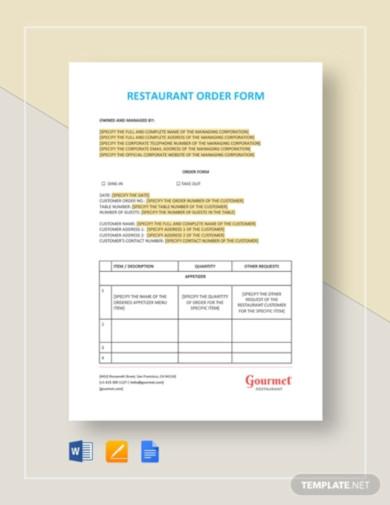restaurant order form template