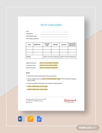 restaurant petty cash form template