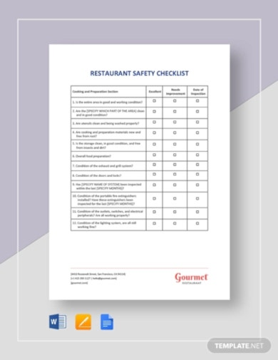 restaurant safety checklist template