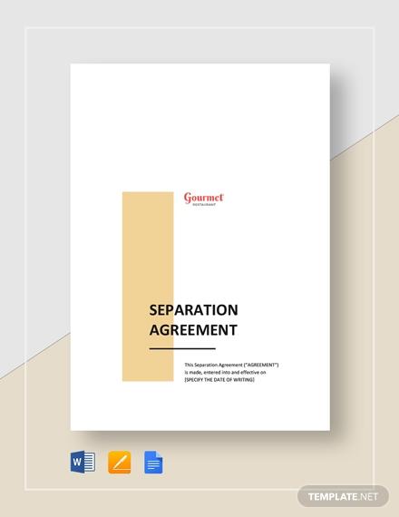 restaurant separation agreement