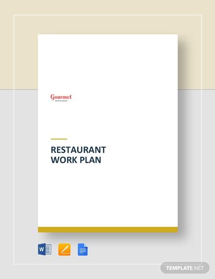 restaurant work plan