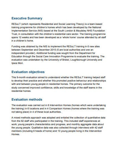 result training evaluation report