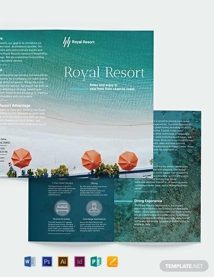 royal resort bi fold brochure template 440x570 1