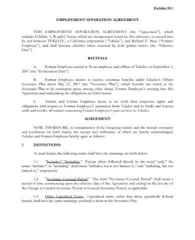 sec employment separation agreement