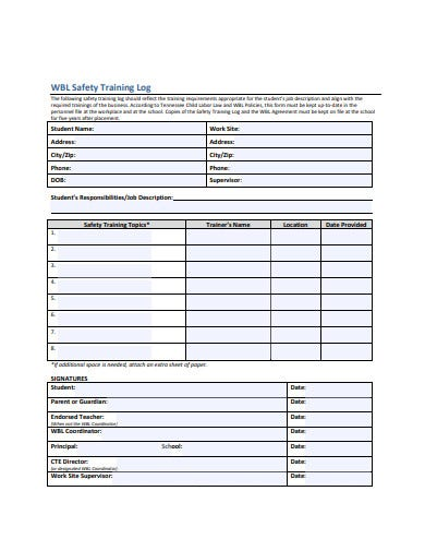 safety training log format