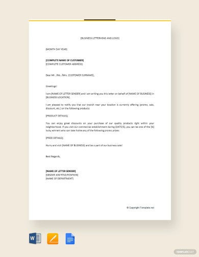 sales promotion letter to customer