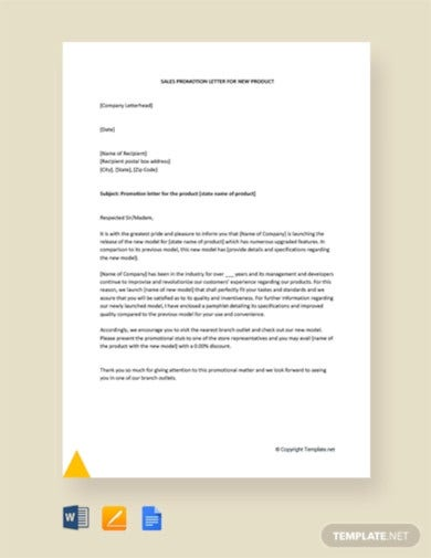 sales promotion letter for new product template