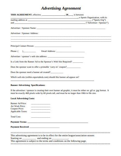 sample advertising agreement template