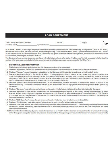 sample car loan agreement template