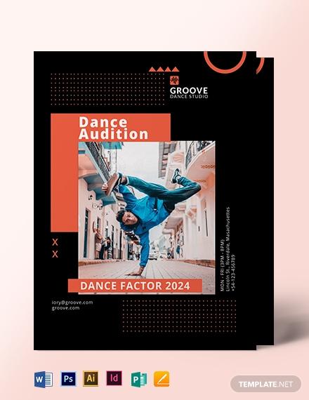 sample dance audition flyer template 1