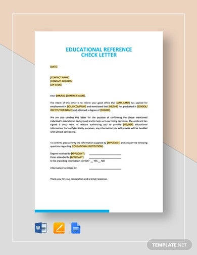 sample educational reference check letter template1