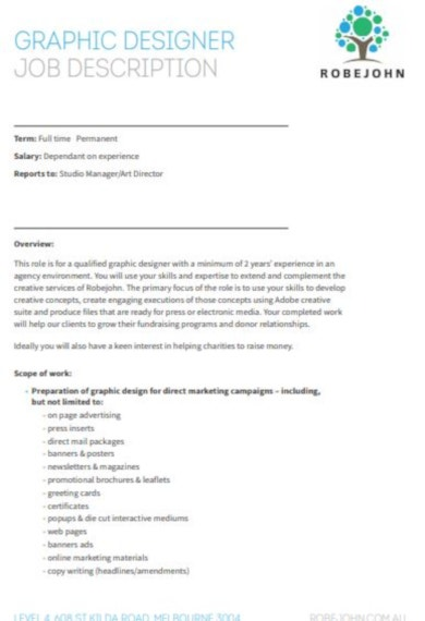 sample graphic designer job description template