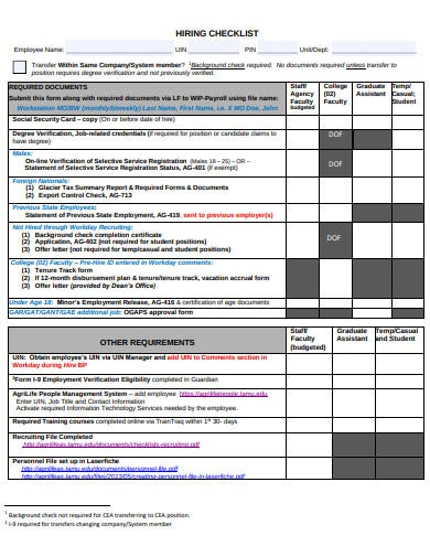 sample hiring checklist example