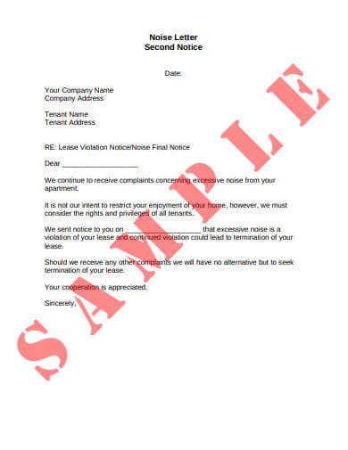sample landlord noise warning letter