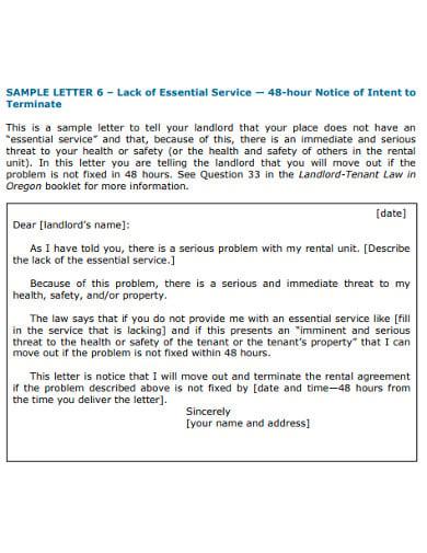 sample landlord warning letter of vacating