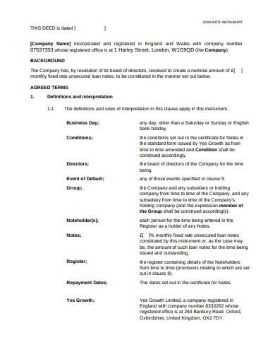 sample-loan-note-templates