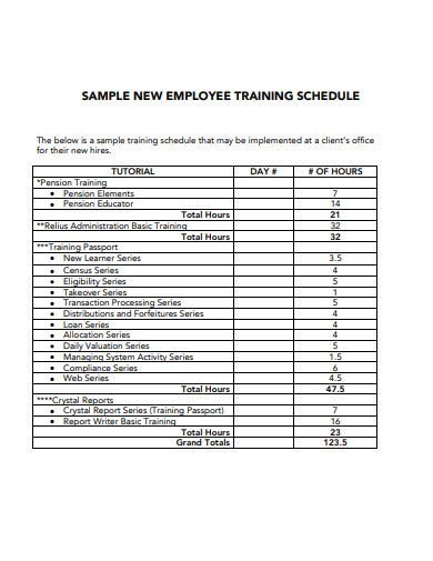 sample new employee training schedule template