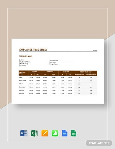 sample of timesheets for employees template