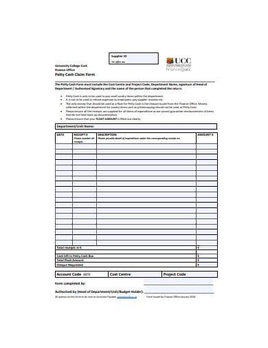 sample petty cash form template