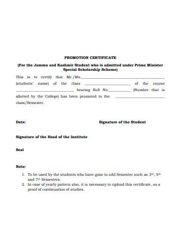 sample promotion certificate 1