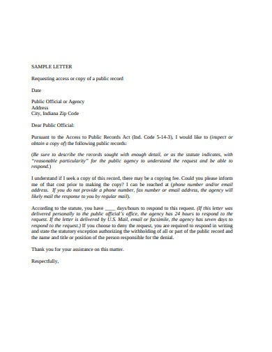 sample record request letter