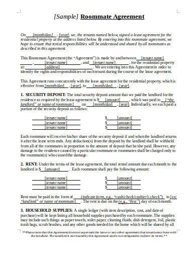 sample roommate agreement template