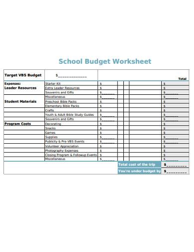 sample school budget worksheet