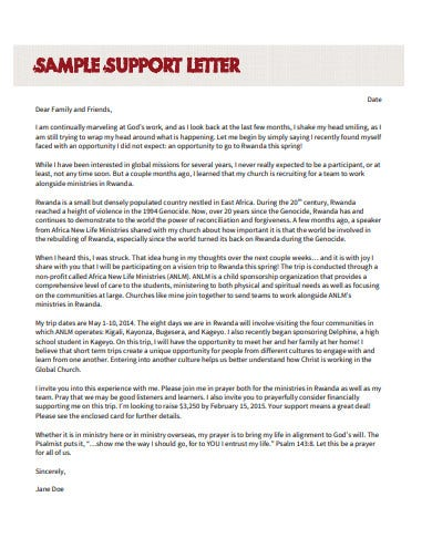 sample support letter template