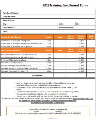 sample-training-enrollment-form