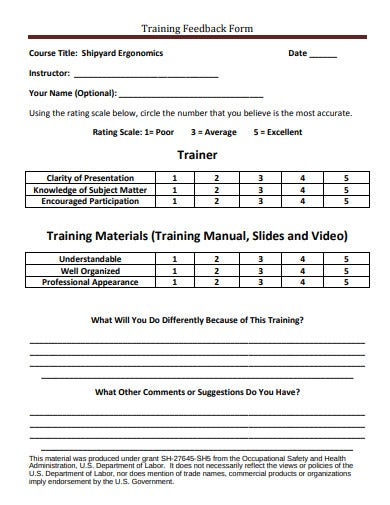 sample training feedback form