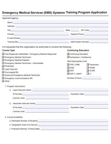 sample training program application