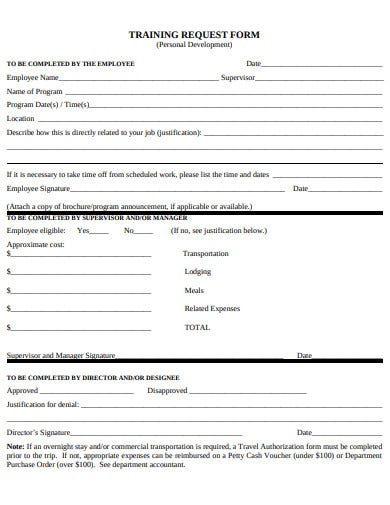 sample training request form example