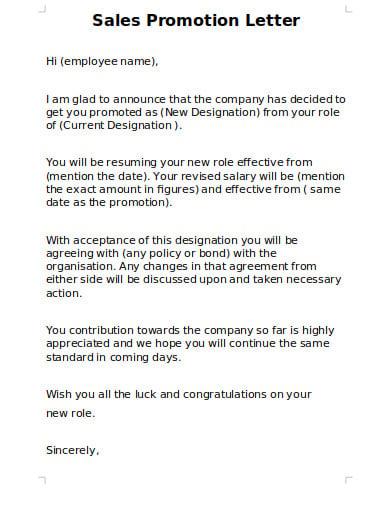 sample sales promtional letter