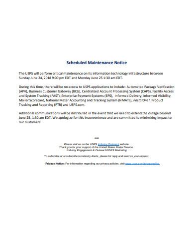schedule maintenance notice template