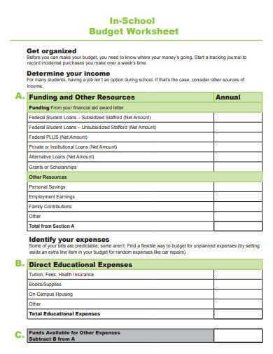 school budget worksheet