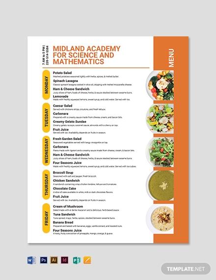 school flyer menu