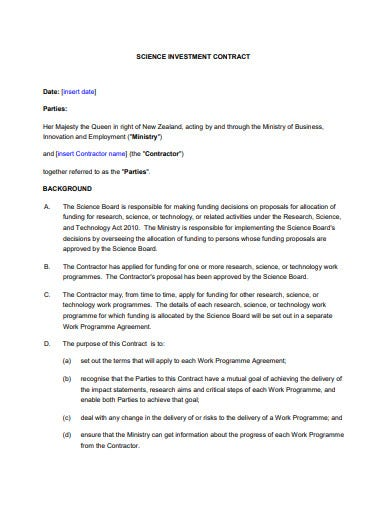 science investment contract template