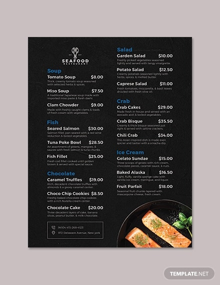 seafood flyer menu