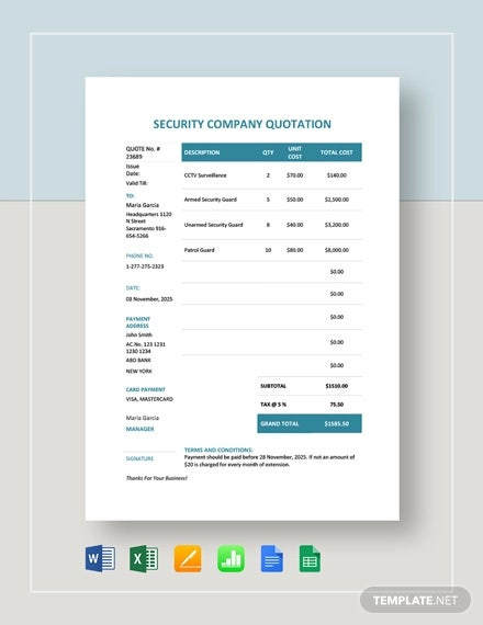 security company quotation template1