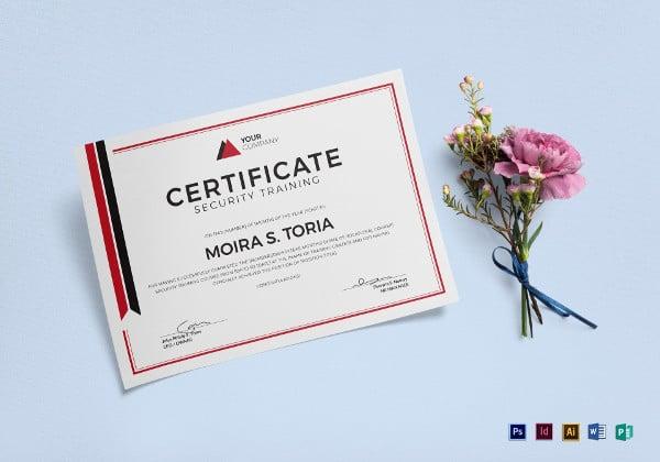 security-training-certificate-template