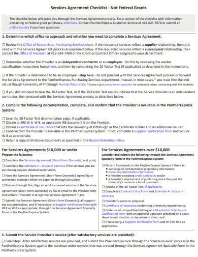 service agreement checklist in pdf