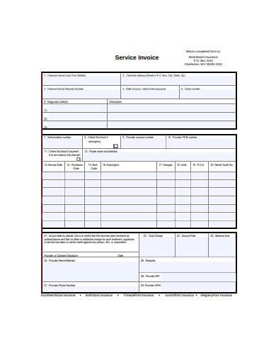 service invoice in pdf