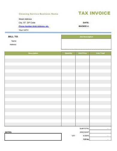 service tax invoice example
