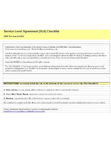 service level agreement checklist template