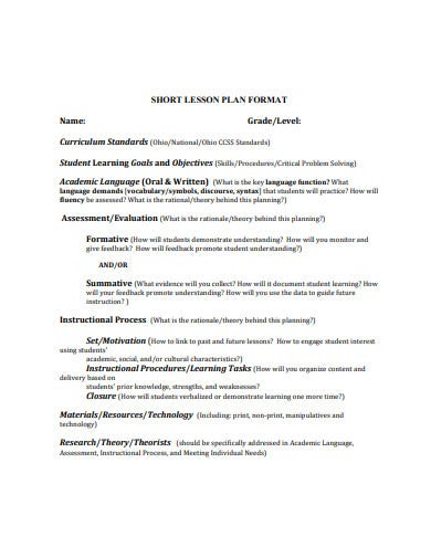 short lesson plan format
