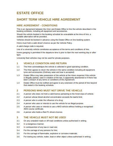 short term vehicle agreement