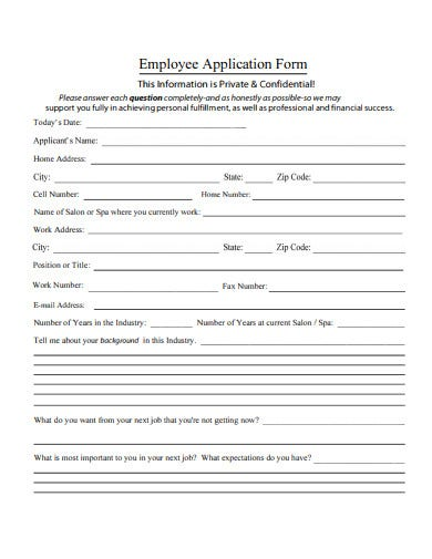 Simple-Employee-Application-Form-Example Salon Application Form on color order, liability release, client consultation, client information, customer information, small business printable, great new client, free printable nail, color release, color consent, blank tanning,