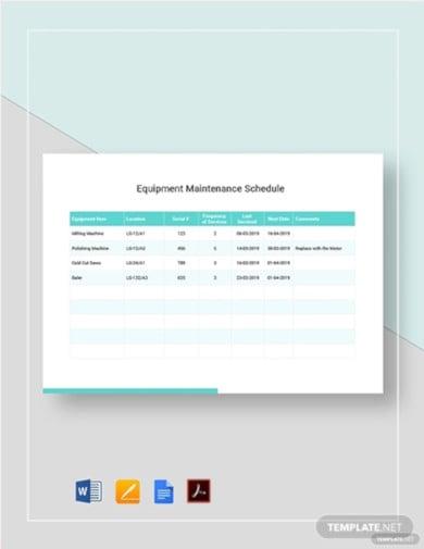 simple equipment maintenance schedule template2