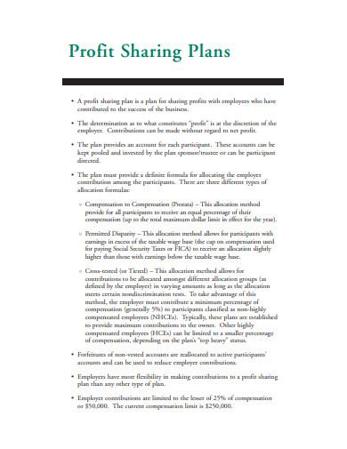 simple profit sharing plan template