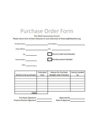 simple purchase order form example